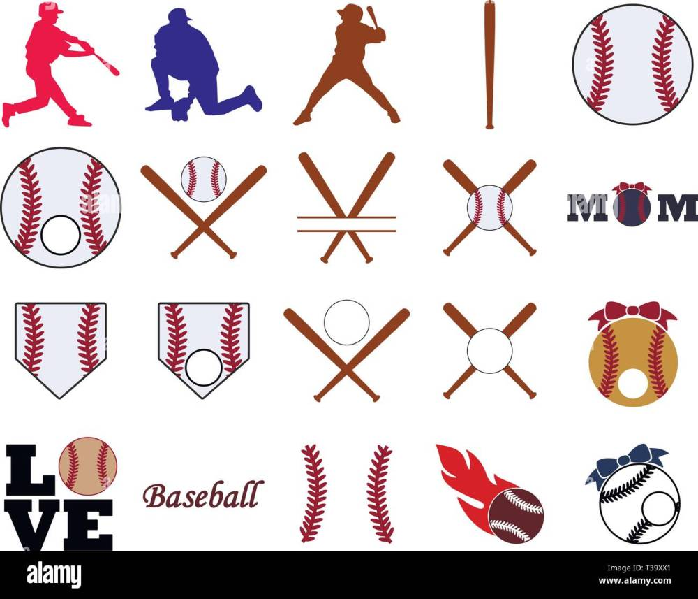 medium resolution of collection of baseball illustrations stock image