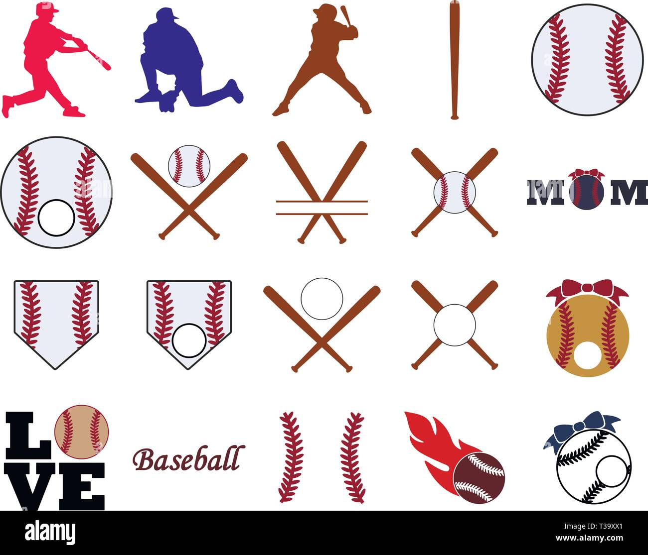 hight resolution of collection of baseball illustrations stock image
