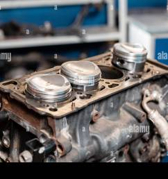 close up a new pistons for the engine overhaul engine on a repair stand with piston and connecting rod of automotive technology interior of a car [ 1300 x 956 Pixel ]