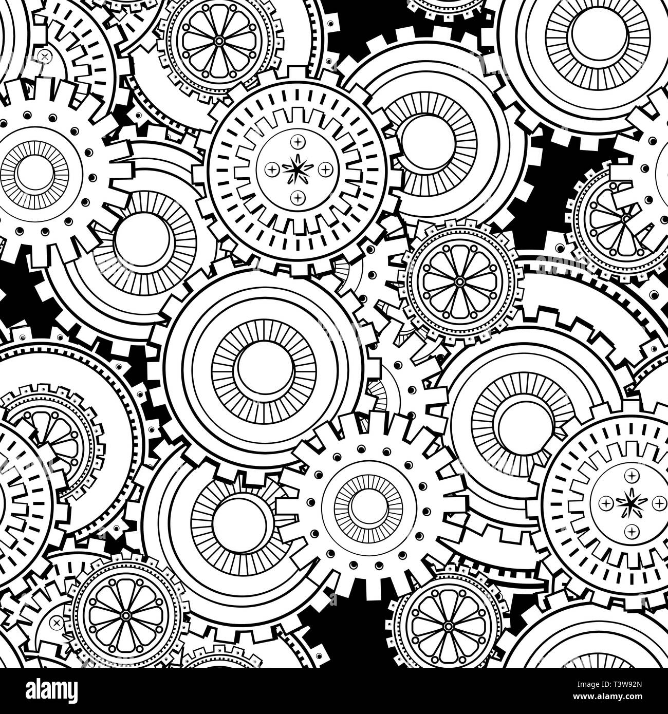 Cogwheels Seamless Pattern Cogs And Gears Steampunk