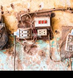 old electrical wiring hung yen province vietnam stock image [ 1300 x 960 Pixel ]