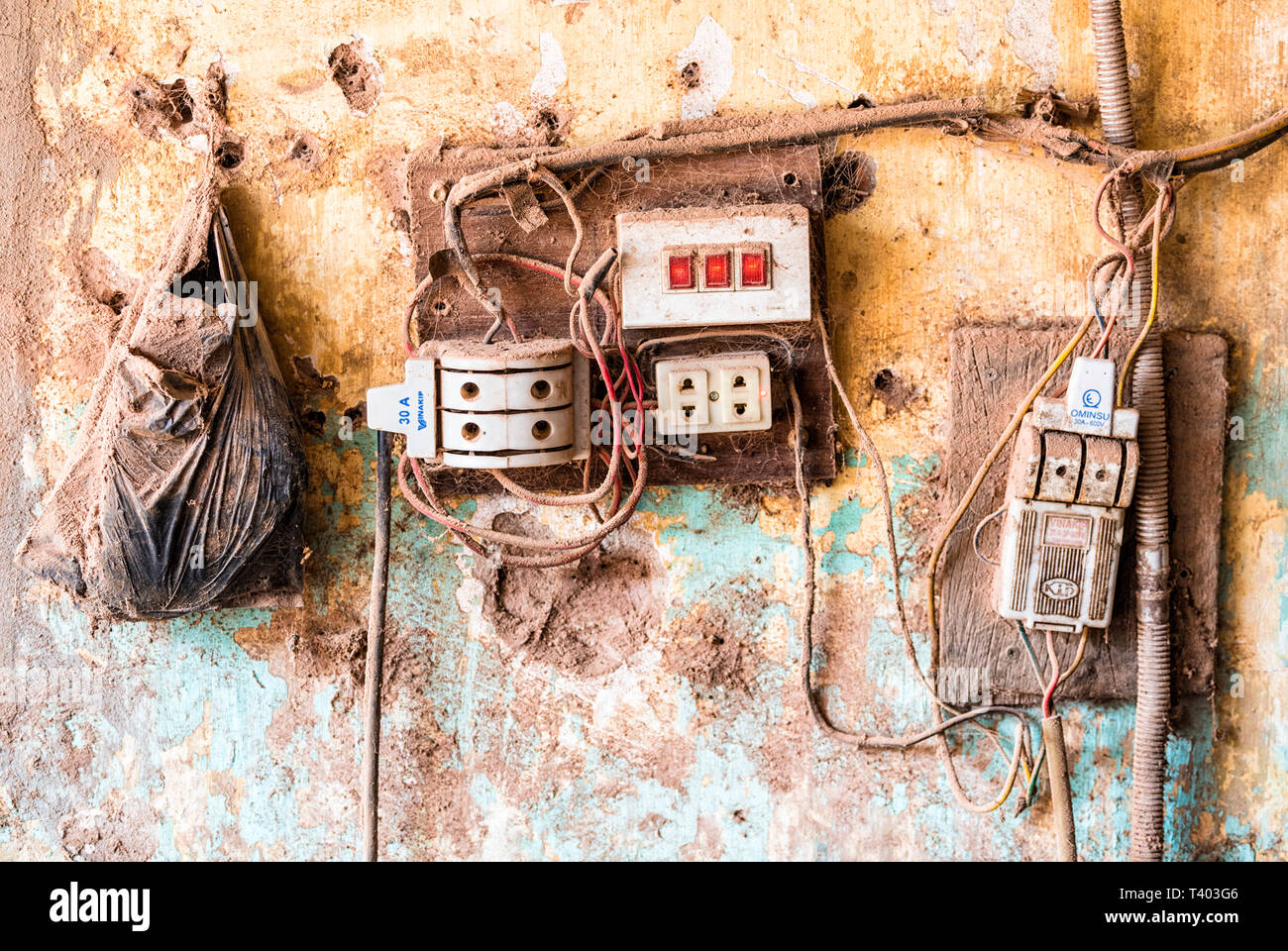 hight resolution of old electrical wiring hung yen province vietnam stock image