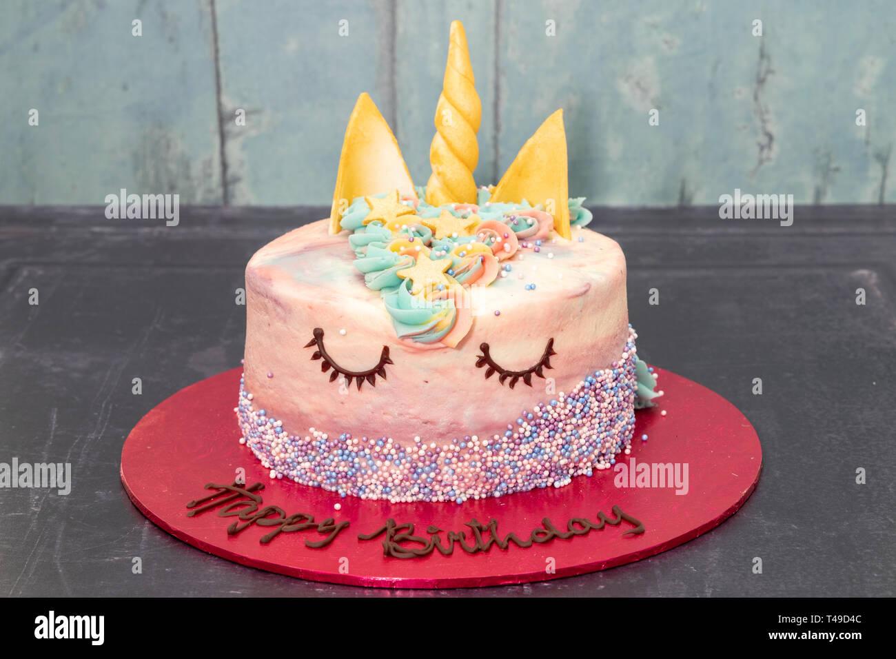 Childrens Party Unicorn Birthday Cake Stock Photo 243611660 Alamy