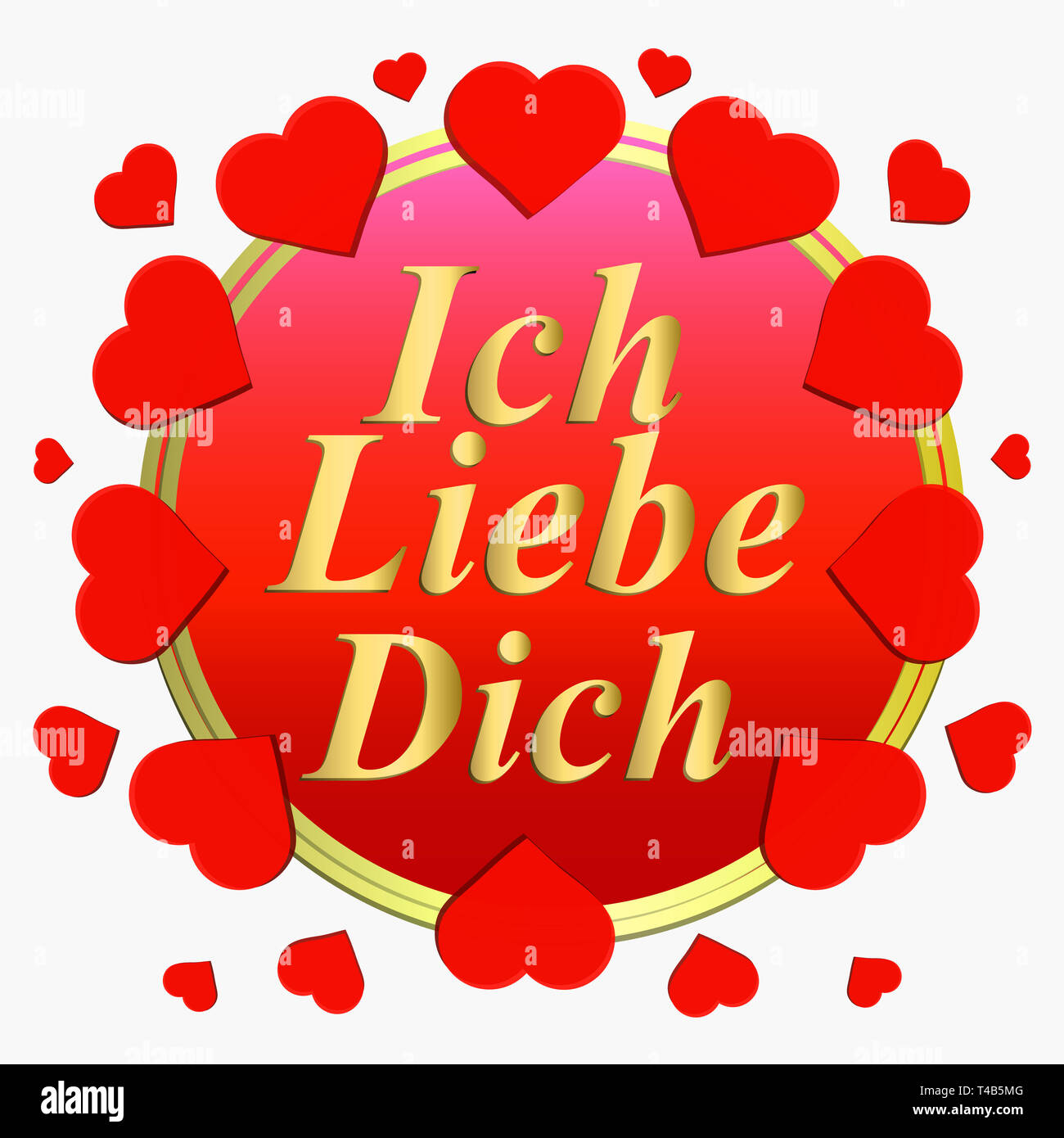 Love You Bilder I Love You. Background With Red Hearts. Card For Celebrations. Bright Backdrop With Hearts In German Language Stock Photo - Alamy