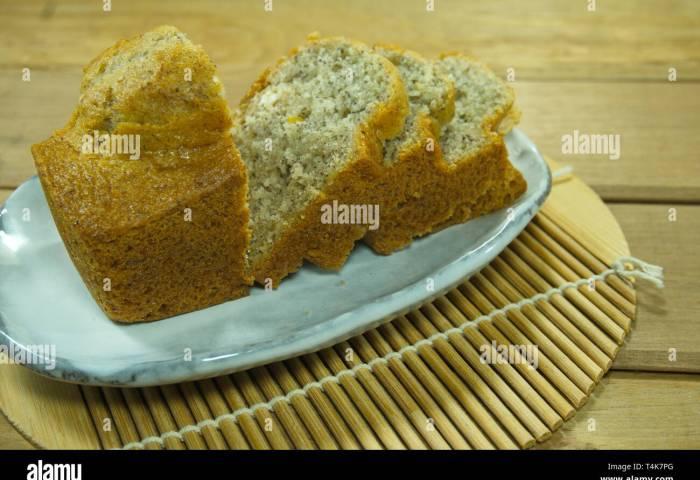 Banana Cake On Japanese Style White Plate Stock Photo 243826984 Alamy