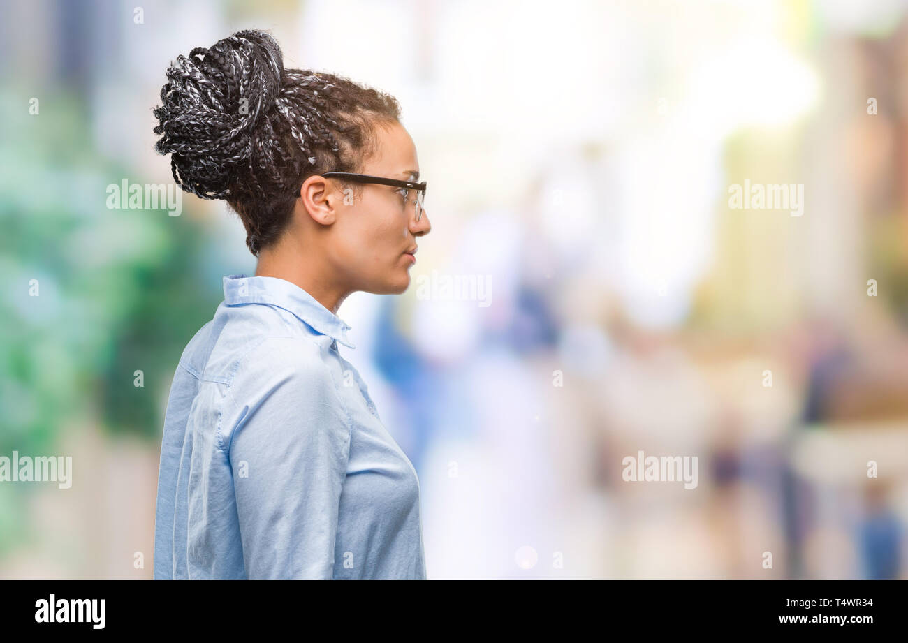 Young Braided Hair African American Business Girl Wearing Glasses