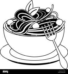 Spaghetti italian food in black and white Stock Vector Image & Art Alamy