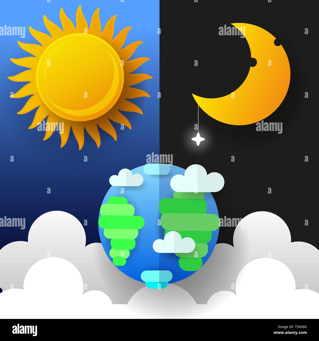 Sun Moon And Stars Day And Night Vector Banners Isolated