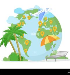 around world tour trip travel agency illustration pointer marks on planet earth globe exotic sea resort summer vacation isolated clipart [ 1300 x 1065 Pixel ]