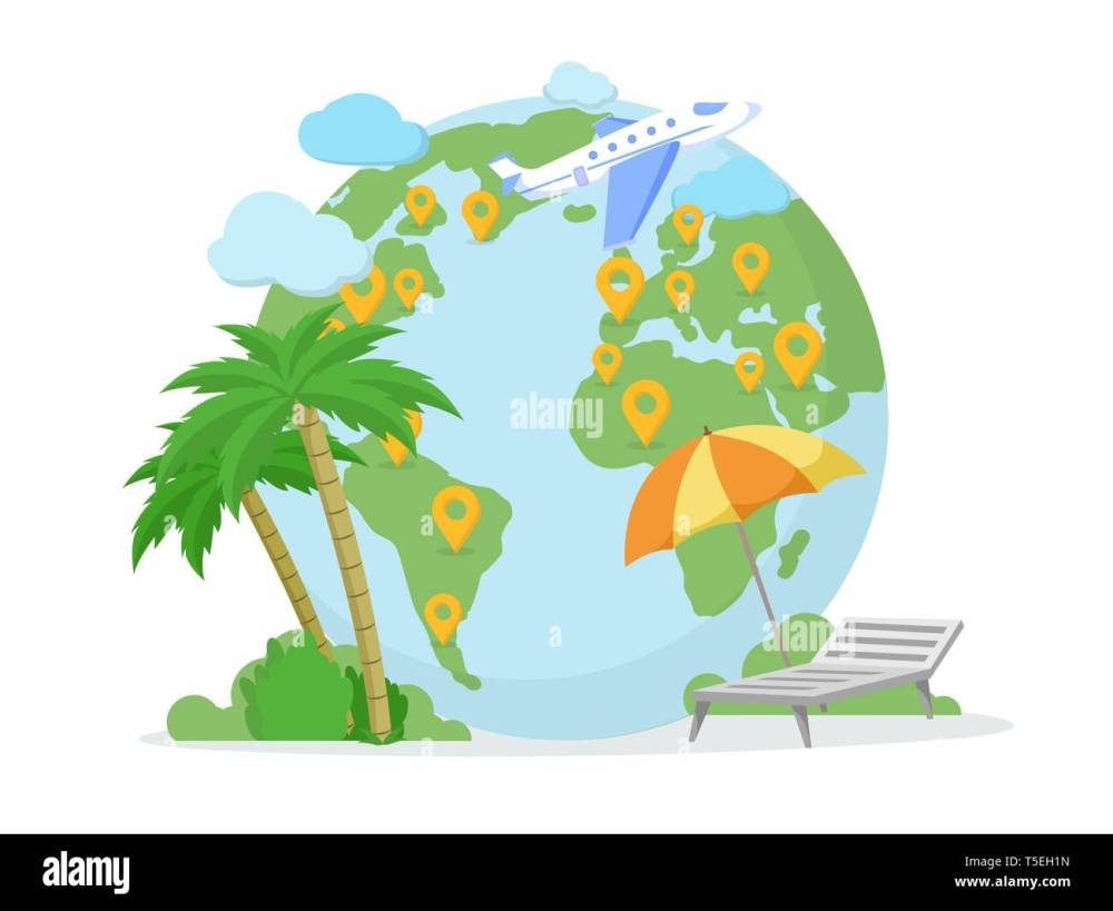 medium resolution of around world tour trip travel agency illustration pointer marks on planet earth globe exotic sea resort summer vacation isolated clipart