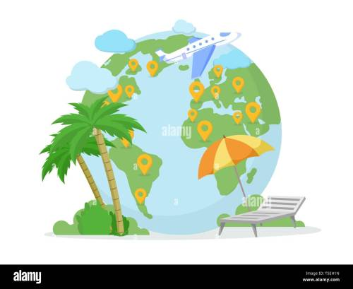small resolution of around world tour trip travel agency illustration pointer marks on planet earth globe exotic sea resort summer vacation isolated clipart