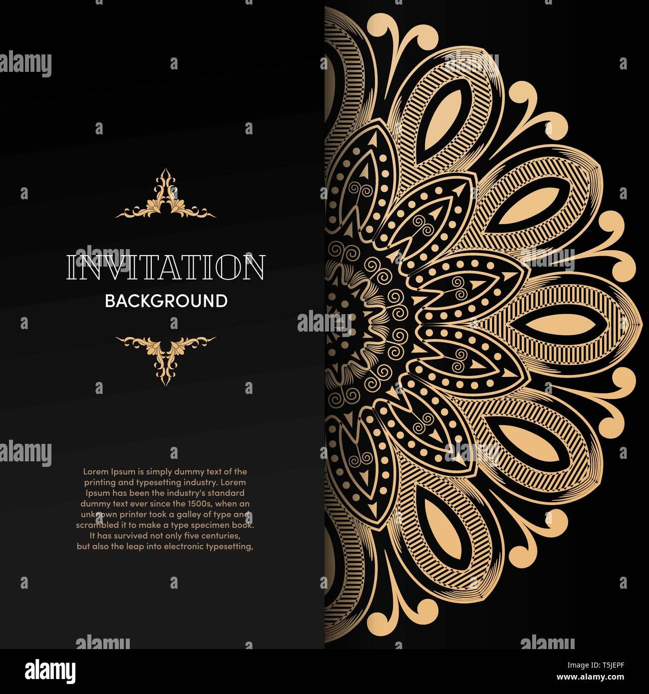 https www alamy com luxury gold mandala invitation card design template image244425175 html