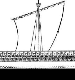 an athenian trireme has three rows of oars on each side with a man operating each [ 1300 x 619 Pixel ]