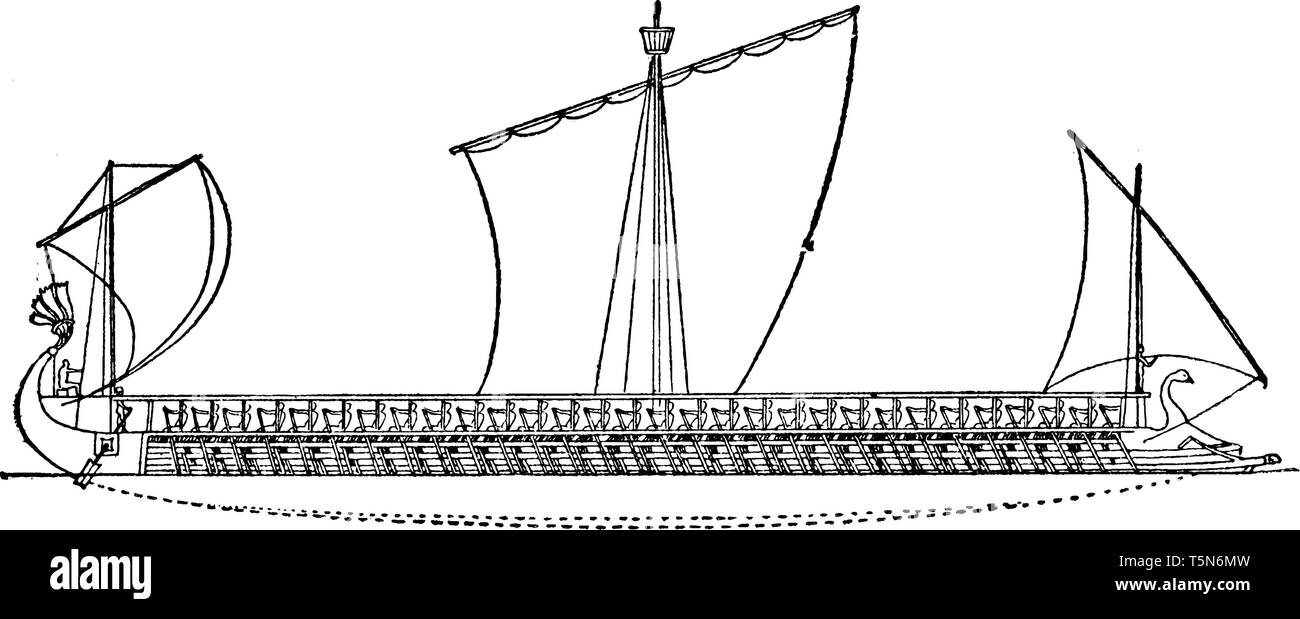 hight resolution of an athenian trireme has three rows of oars on each side with a man operating each