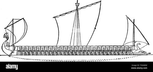 small resolution of an athenian trireme has three rows of oars on each side with a man operating each