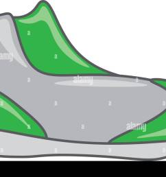 an image of a running shoe of gray and green color vector color drawing or illustration [ 1300 x 982 Pixel ]