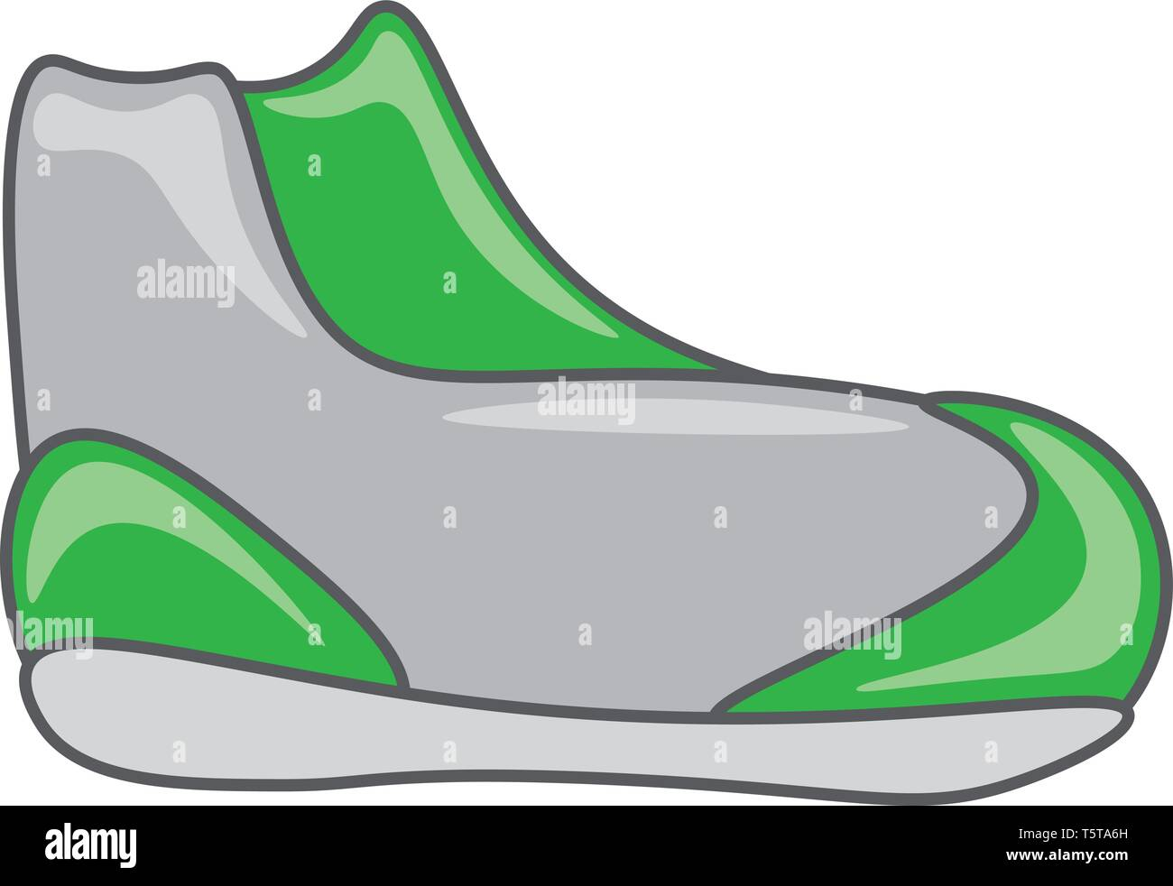 hight resolution of an image of a running shoe of gray and green color vector color drawing or illustration