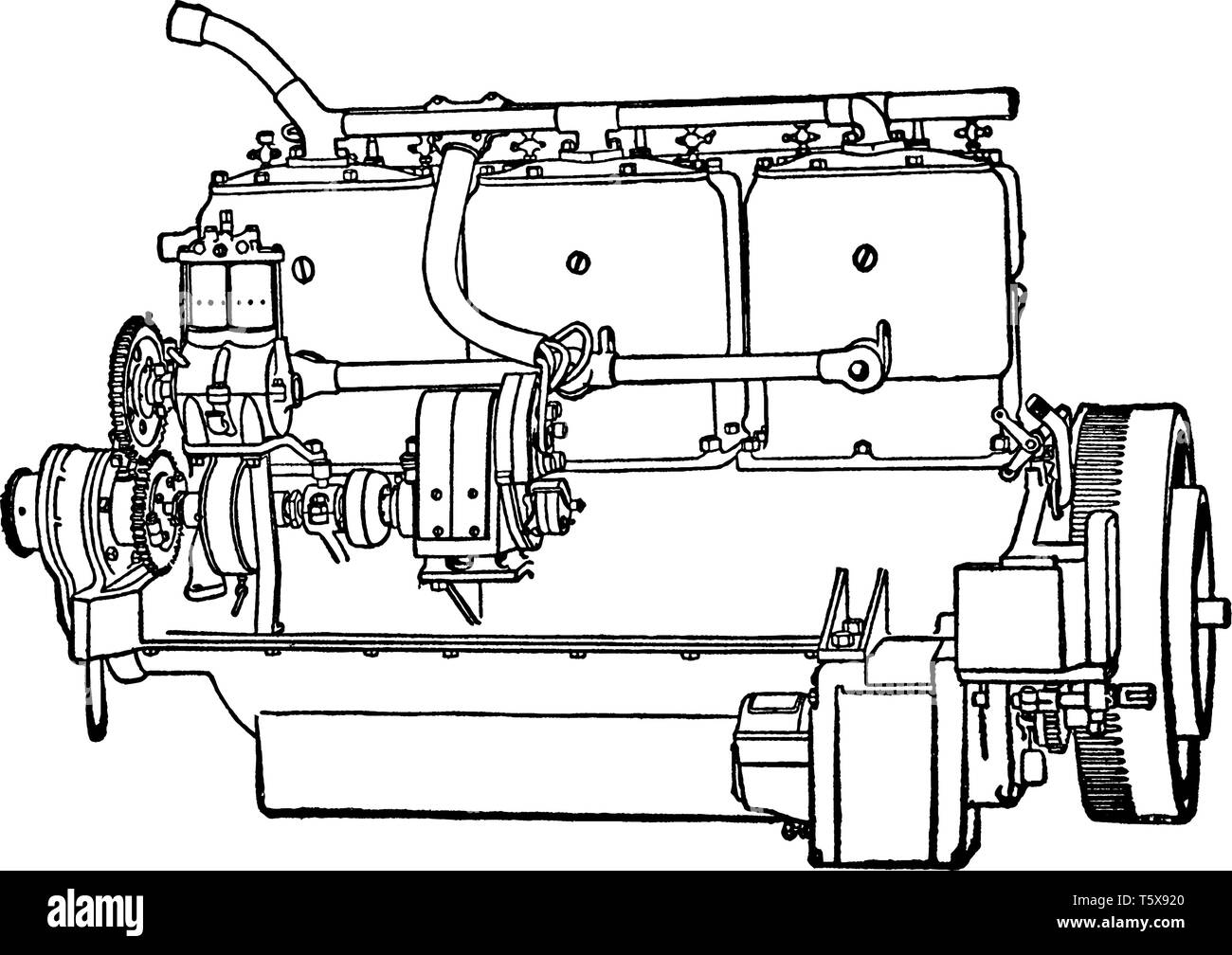 hight resolution of building an automobile step 11 is motor starts the engine by turning the fly wheel vintage line drawing or engraving illustration