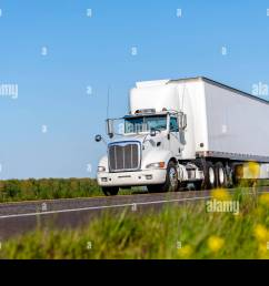big rig industrial grade white day cab semi truck for local deliveries transporting loaded commercial cargo in long box dry van semi trailer driving o [ 1300 x 957 Pixel ]