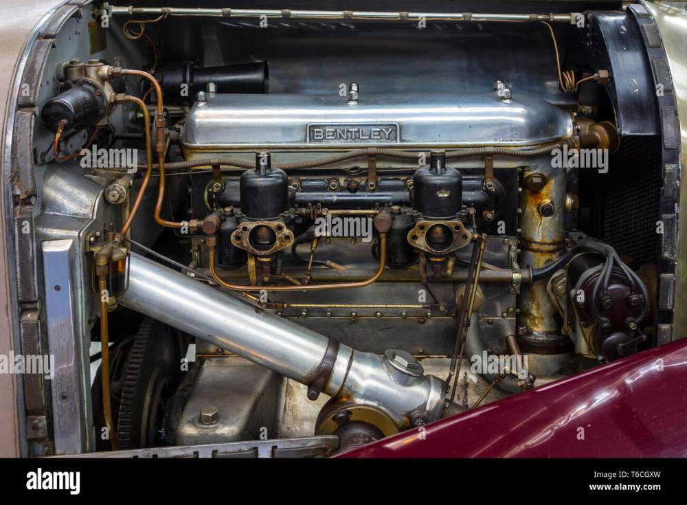 medium resolution of 1928 british inline four engine of bentley 4 litre racing car at autoworld vintage
