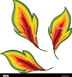 clipart of three autumn leaves turning yellow have a round toothed and scalloped edge vector color drawing or illustration [ 1255 x 1390 Pixel ]