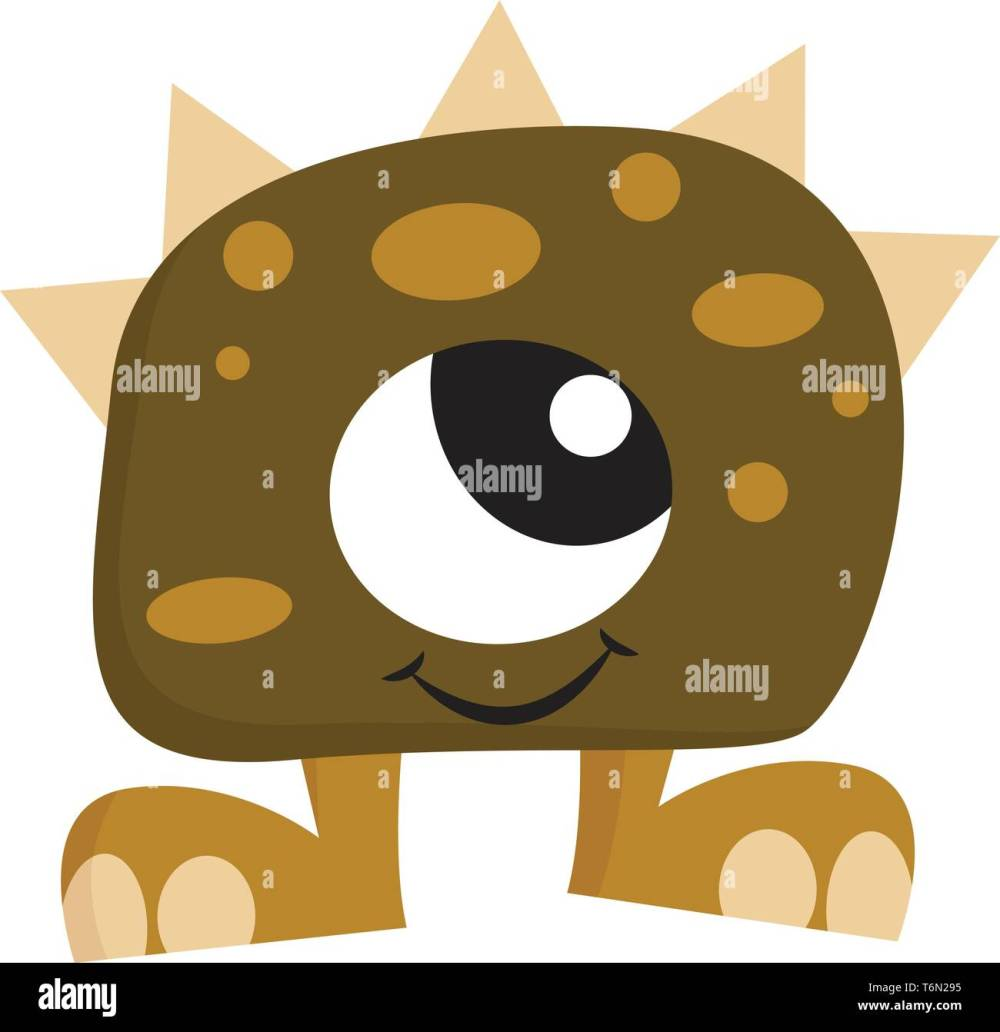 medium resolution of clipart of green colored monster with one big eye spines on its body two legs is smiling while standing vector color drawing or illustration