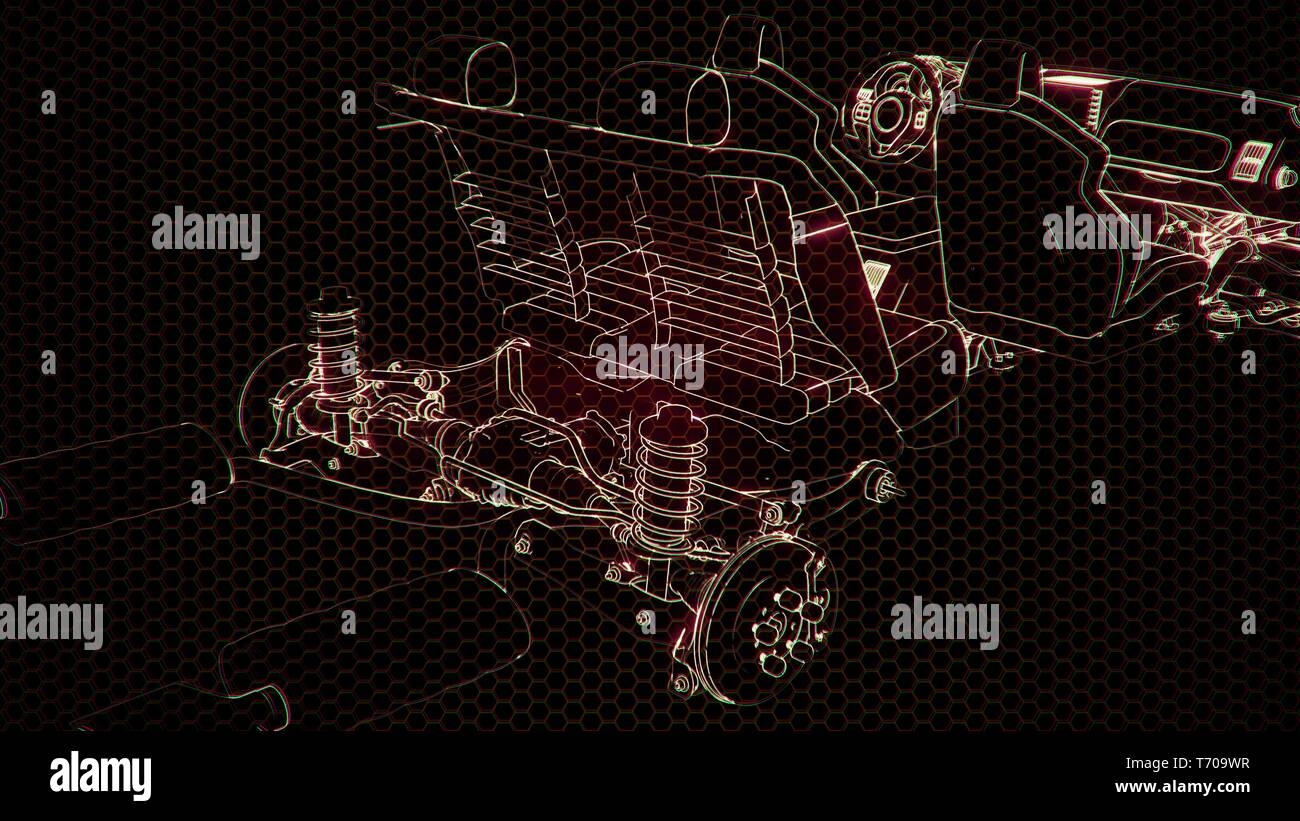 hight resolution of holographic animation of 3d wireframe car model with engine stock image