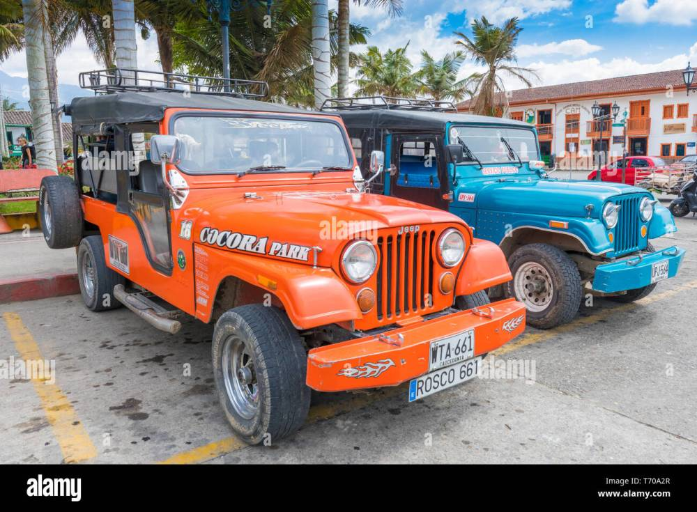 medium resolution of jeep willys in the village salento colombia stock image