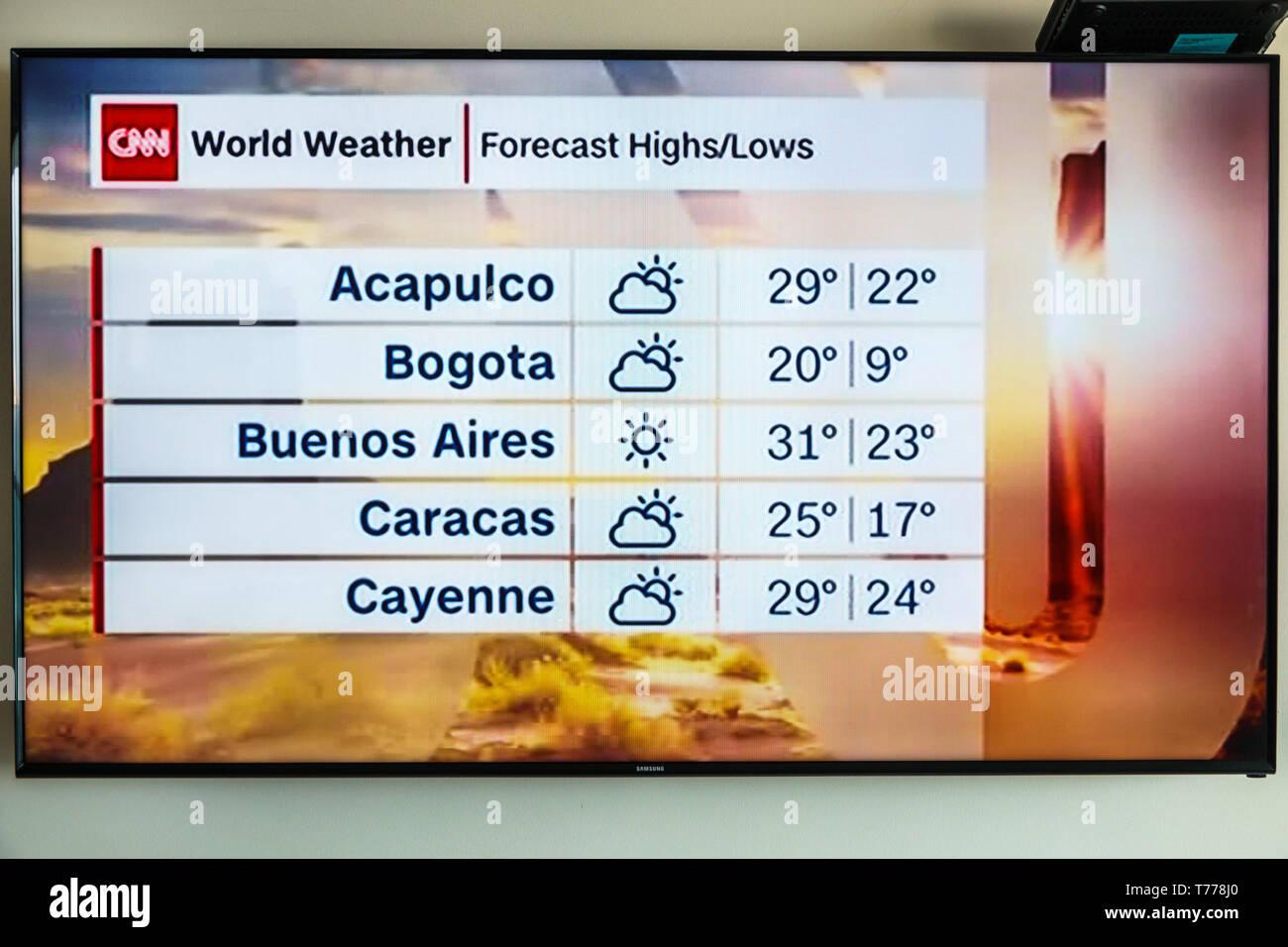 Colombia Cartagena Tv Television Monitor Screen Flat Screen Cnn World Weather Forecast Centigrade Latin America Cities Sightseeing Visitors Trav Stock Photo Alamy
