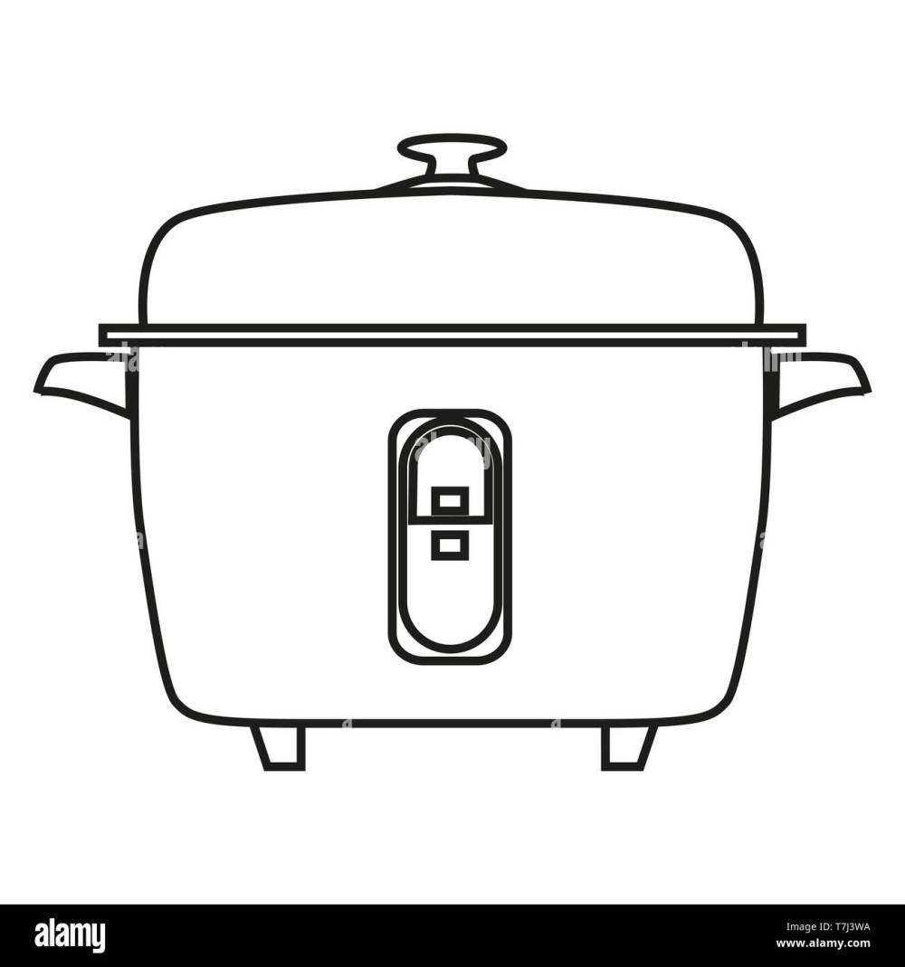 medium resolution of rice cooker line icon isolated on white background outline thin black equipment household vector