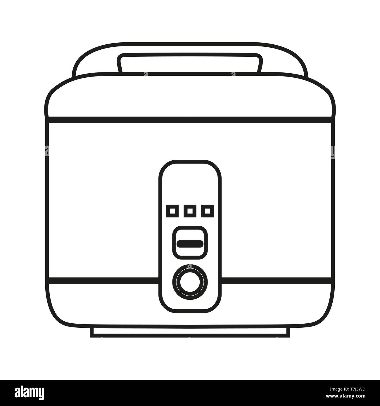 hight resolution of rice cooker line icon isolated on white background outline thin black equipment household vector