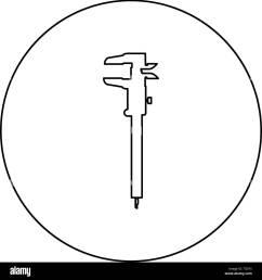 caliper hand caliper sliding caliper vernier caliper caliper gage slide gage trammel icon in circle round [ 1300 x 1390 Pixel ]
