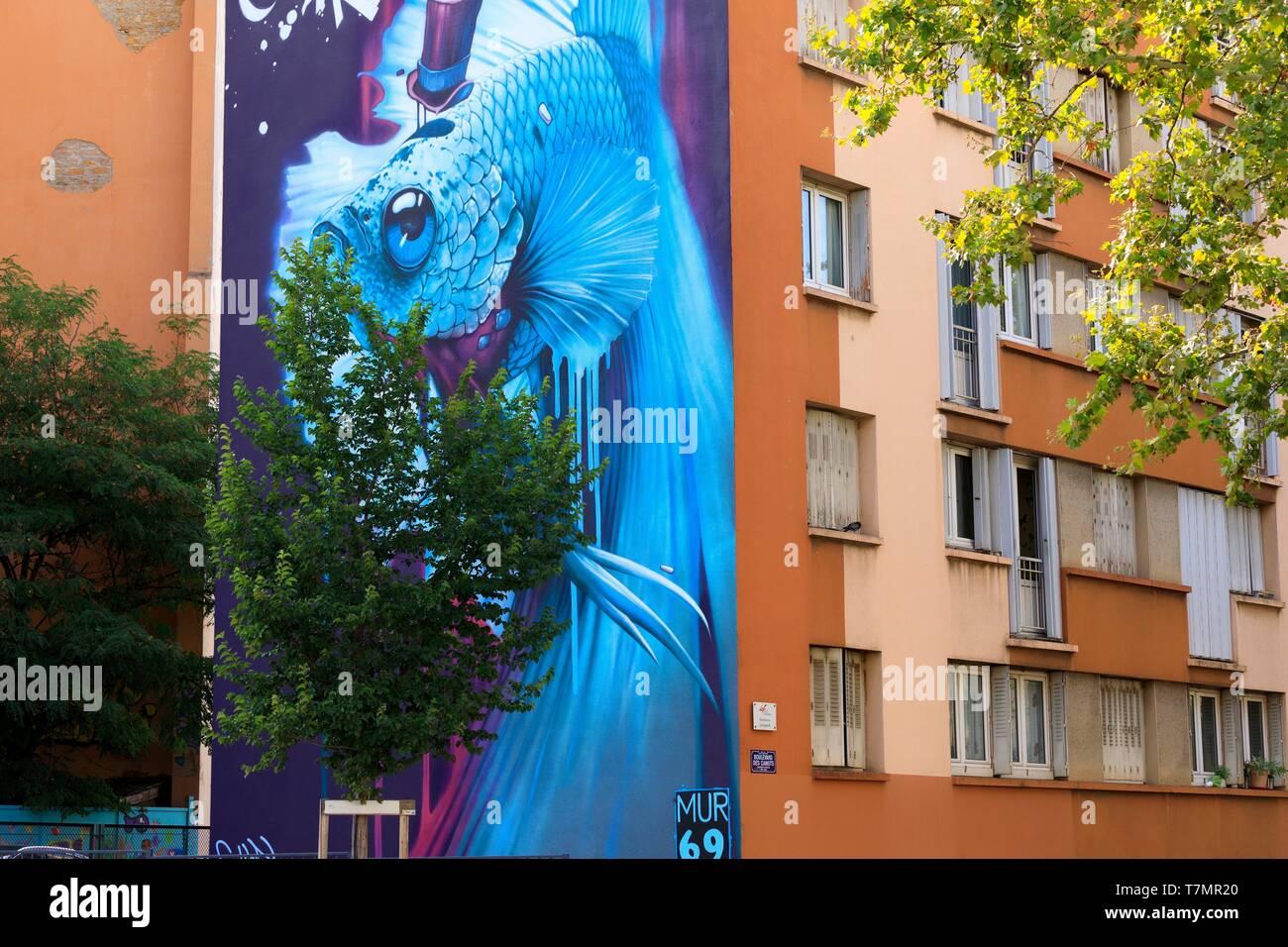 https www alamy com france rhne lyon 4th district le plateau district of la croix rousse place des tapis giant fighter by graffeur kalouf mur69 image245704872 html