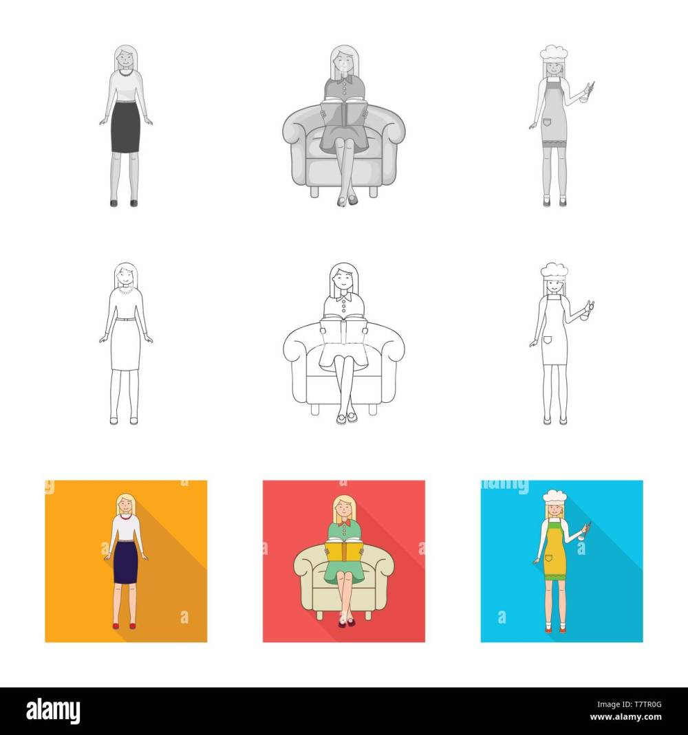 medium resolution of vector design of posture and mood icon set of posture and female vector icon for stock