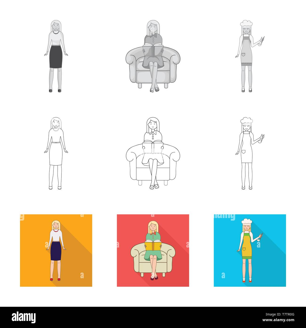 hight resolution of vector design of posture and mood icon set of posture and female vector icon for stock