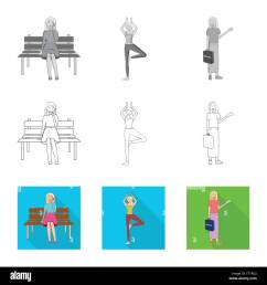 isolated object of posture and mood symbol collection of posture and female vector icon for stock  [ 1300 x 1390 Pixel ]