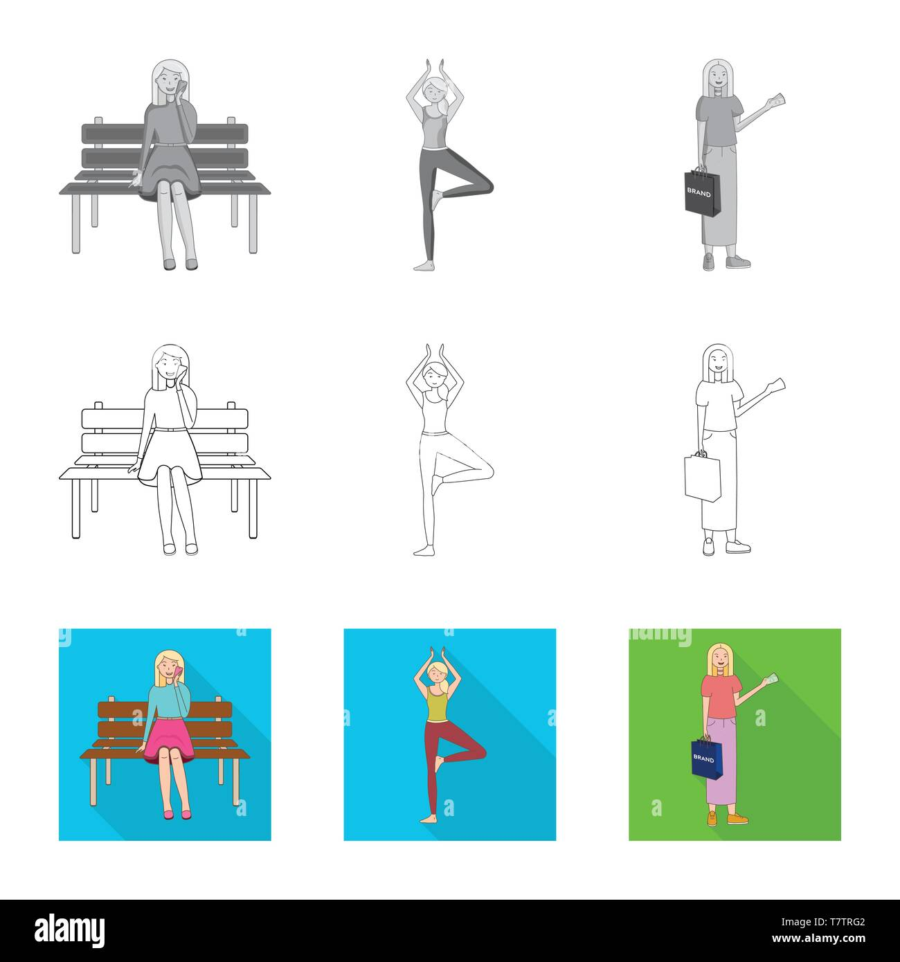 hight resolution of isolated object of posture and mood symbol collection of posture and female vector icon for stock