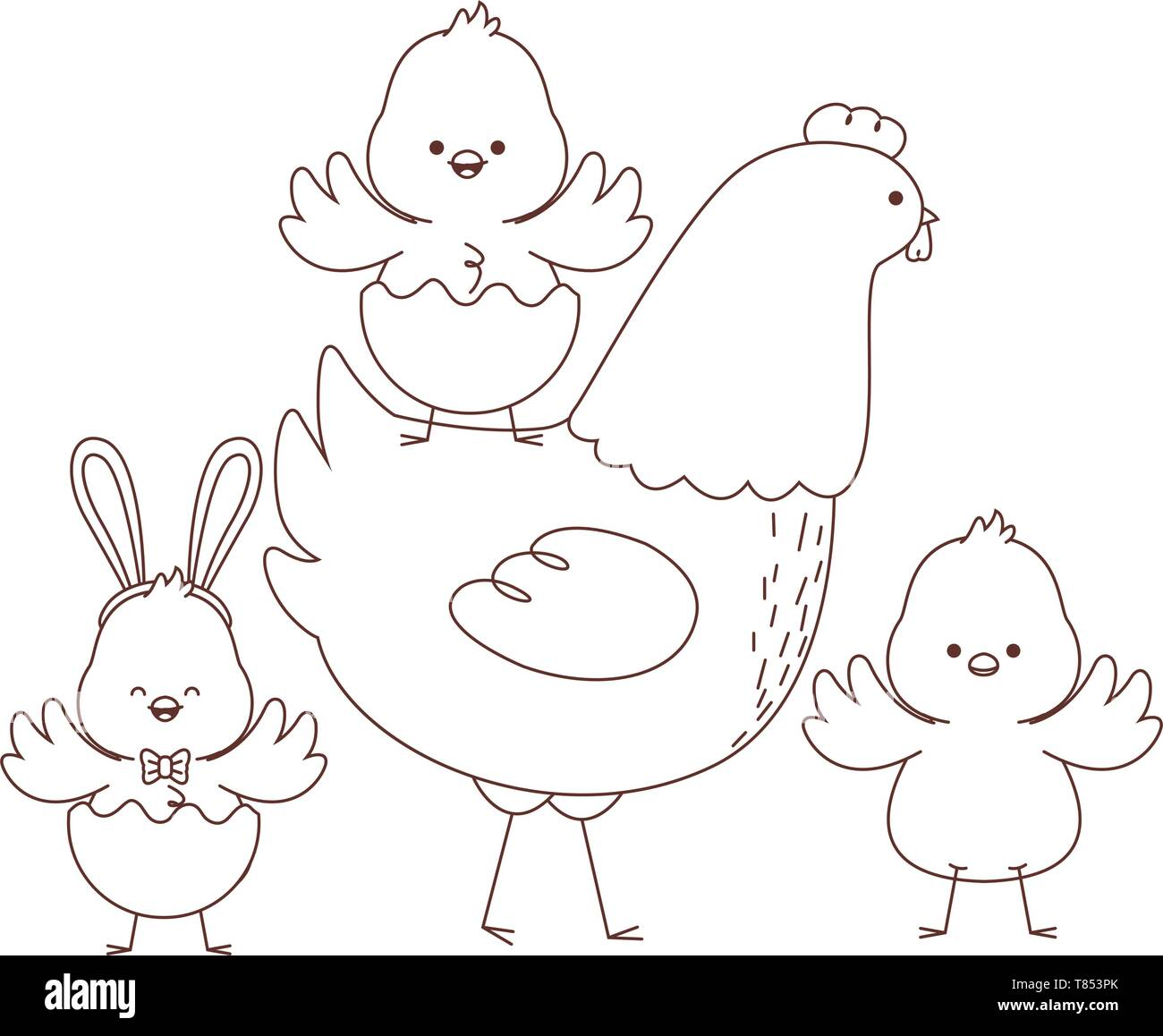 Happy Farm Animals Outline Stock Vector Art Amp Illustration