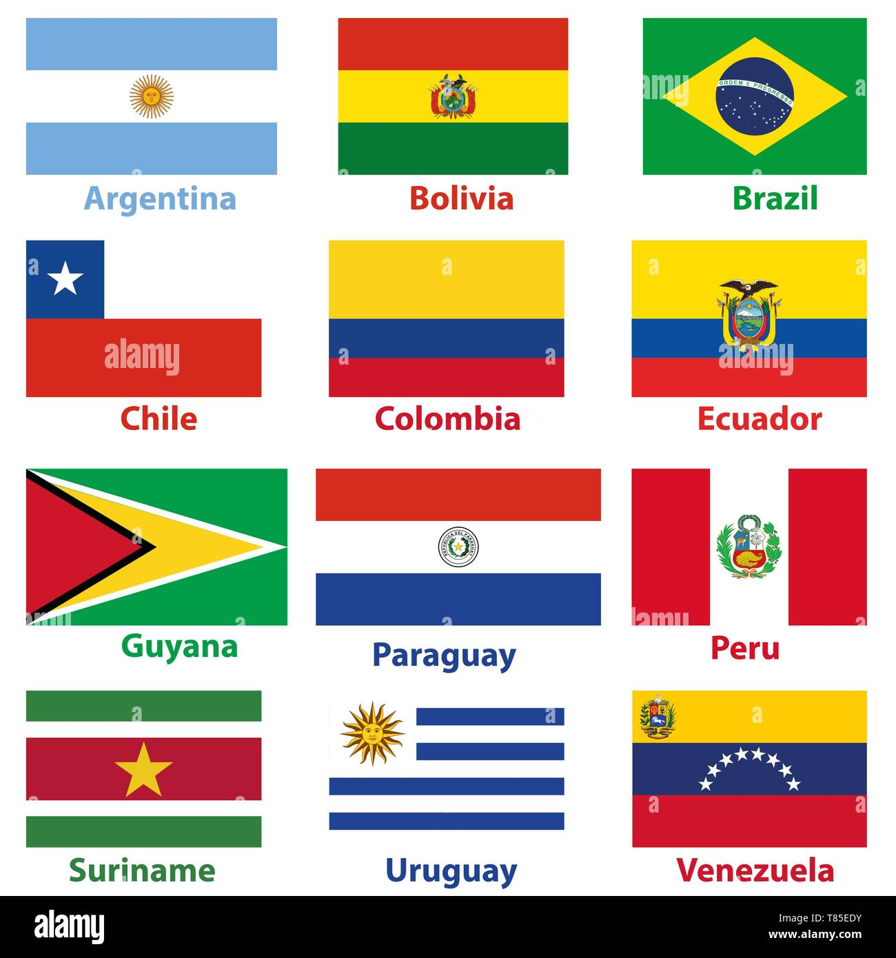 Flags Of The 12 Independent Countries Of South America In