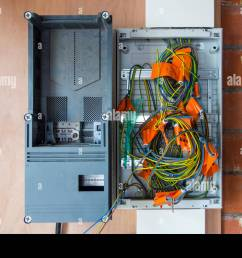 electric wires electrical cables wiring in new fuse box in newly built house under [ 1300 x 956 Pixel ]