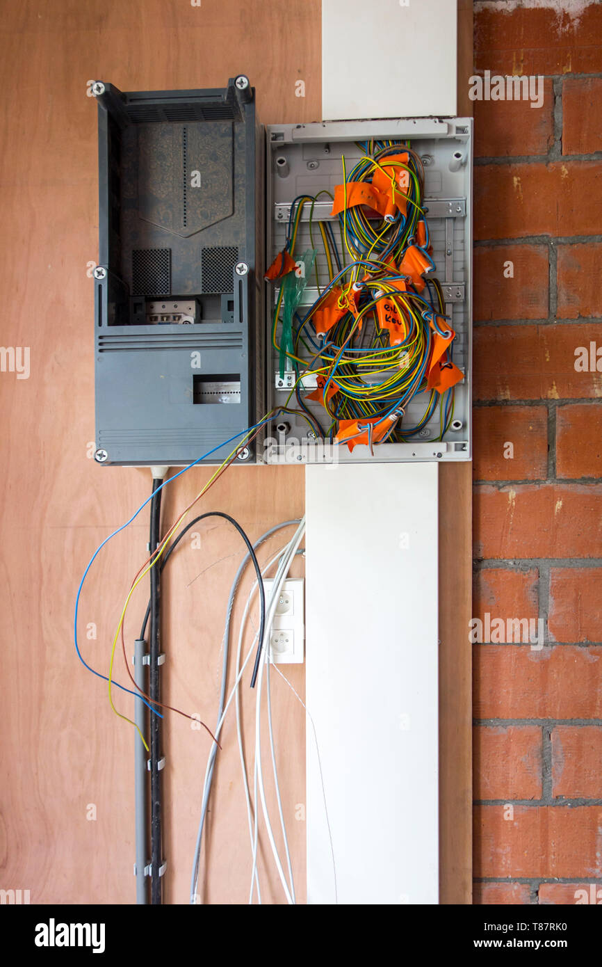medium resolution of electric wires electrical cables wiring in new fuse box in newly built house under