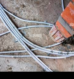 electric wires electrical cables wiring fixed on the floor in newly built house under construction [ 1300 x 956 Pixel ]