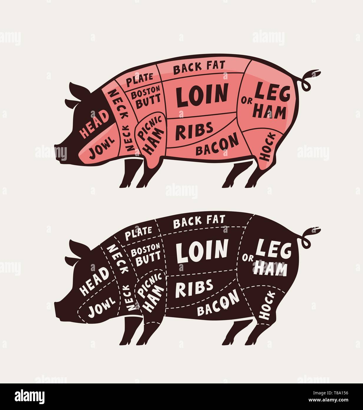 hight resolution of cut of meat pork poster butcher diagram and scheme pig vector illustration