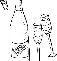 wedding clipart with green wine bottle and two glasses of sparkling wine  [ 920 x 1390 Pixel ]