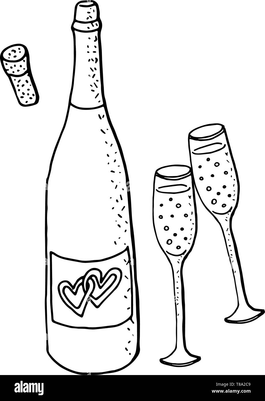 medium resolution of wedding clipart with green wine bottle and two glasses of sparkling wine