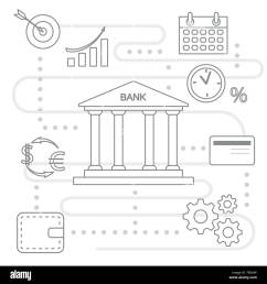 vector illustration with banking line icon bank building credit card percentage profit growth chart currency exchange gears wallet finance mo [ 1300 x 1390 Pixel ]