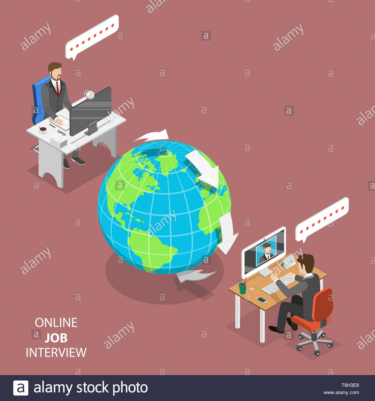 hight resolution of online job interview flat isometric vector concept hr manager located on the other part of the earth is interviewing a candidate through video call