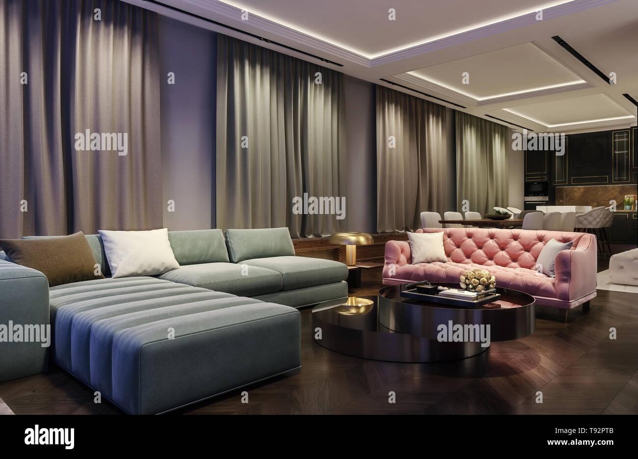 Modern Interior Design Of Living Room Night Scene With