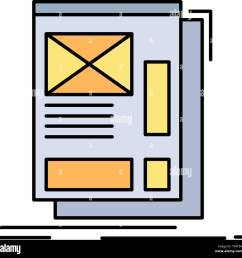 wire framing web layout development flat color icon vector stock vector [ 1300 x 1278 Pixel ]