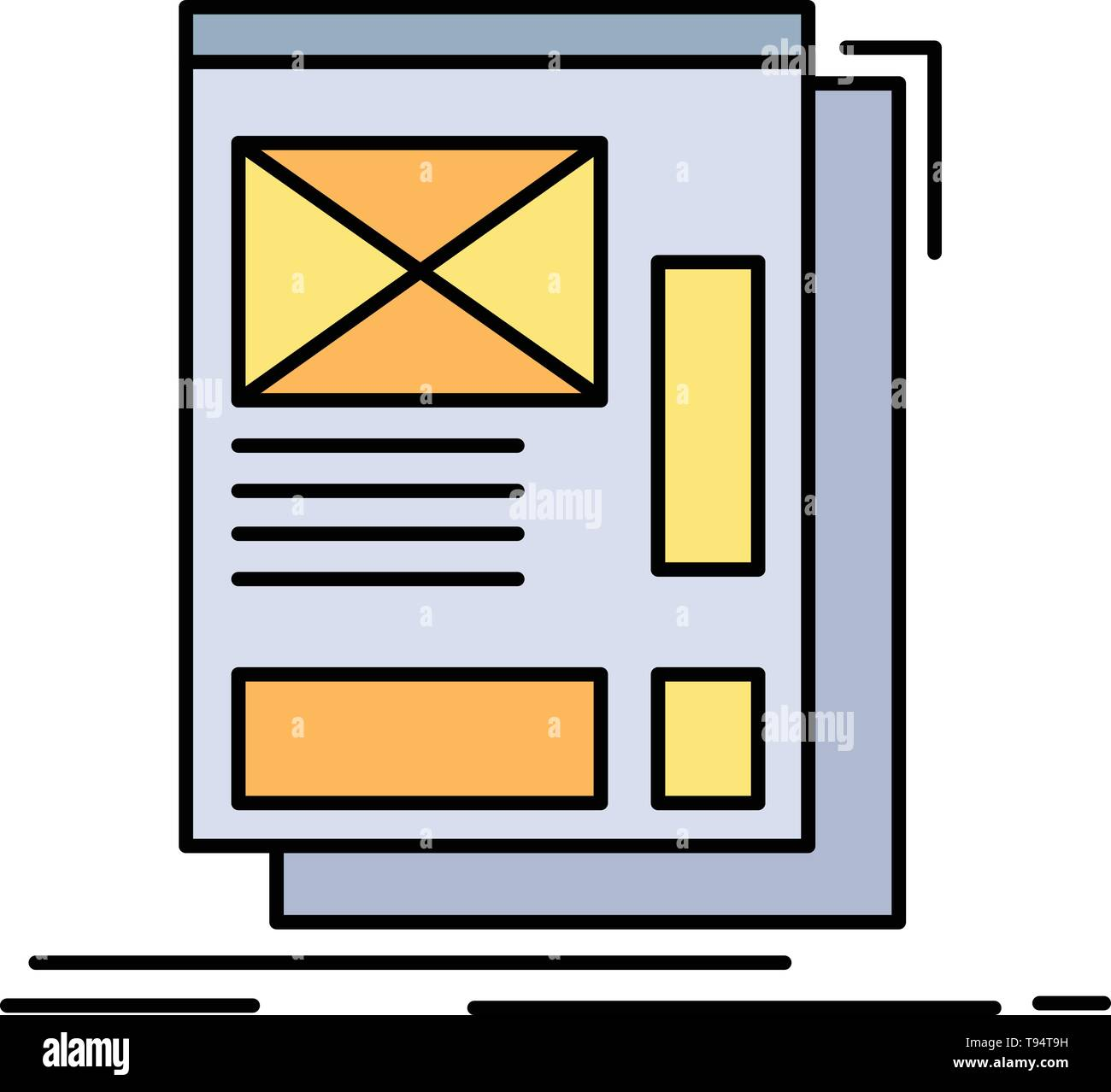 hight resolution of wire framing web layout development flat color icon vector stock vector